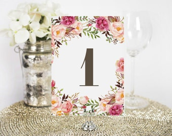 rustic table numbers wedding template gold table numbers etsy