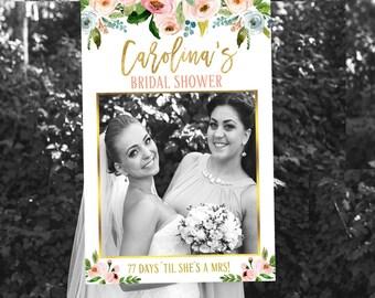 floral bridal shower photo prop floral photo frame printable floral photo booth frame wedding photo booth frame bridal wedding props