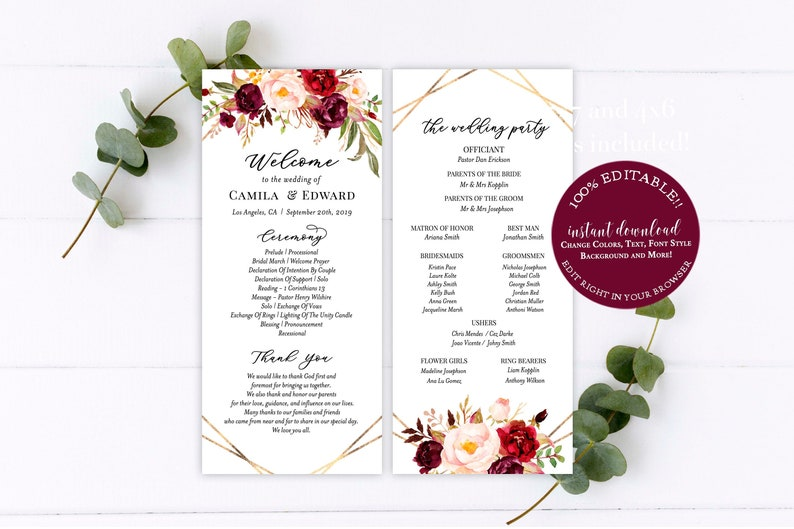 Wedding program template download Elegant wedding programs Editable template wedding Simple wedding programs Wedding program download