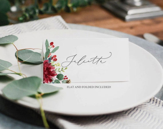 It's just an image of Printable Christmas Place Cards throughout diy