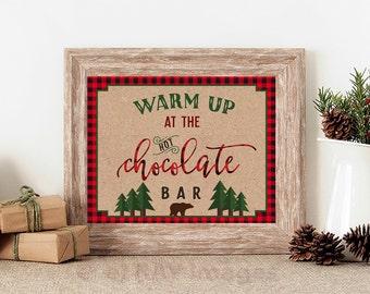Hot Chocolate Bar sign Printable, Hot Cocoa Bar Kit, Lumberjack Birthday Decorations, Winter Hot Chocolate Bar Kit, Lumberjack Birthday