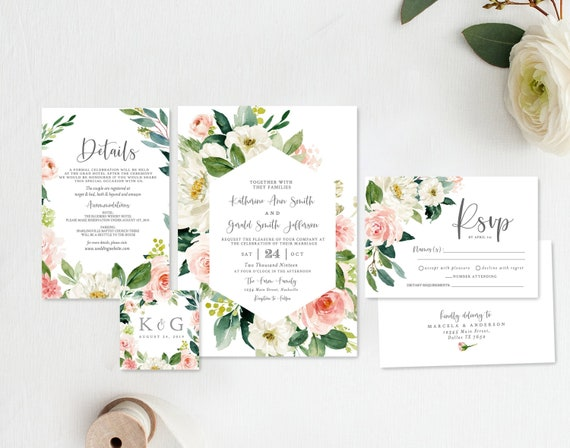 floral wedding invitation template instant download etsy