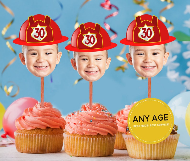 Firefighter Cupcake Toppers Fireman Cupcake Toppers Etsy