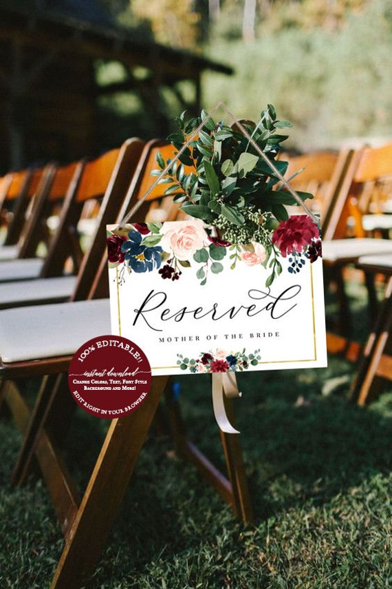 reserved wedding sign template fall wedding reserved sign etsy