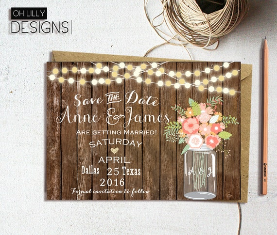 rustic save the date printable country save the date etsy