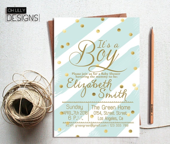Boy Baby Shower Invitation Its A Boy Invitation Baby Etsy