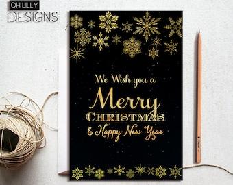 Christmas Card Printable, Christmas Card Instant Download, Xmas Card, Holidays Card Printable, Snowflake Christmas Card, Printable Card