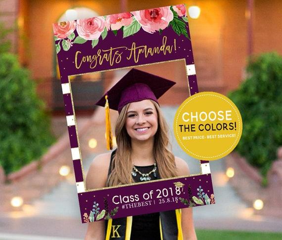 graduation party photo prop frame floral graduation party etsy