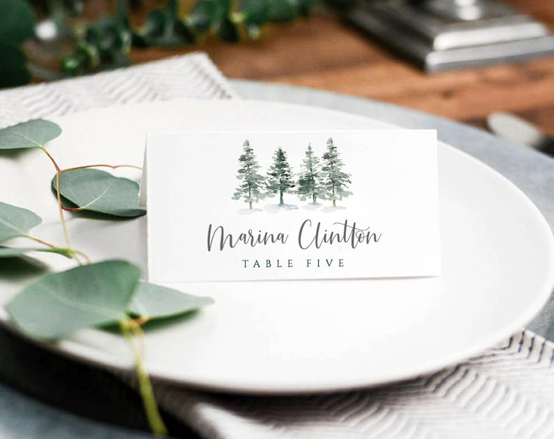 Pine Place Card Template, Winter Place Cards Template, Printable Wedding  Place Cards, Winter Escort Cards, Place Card Wedding, Place Cards