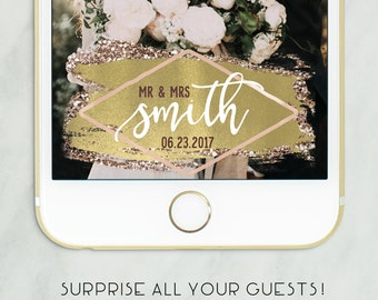 Gold Wedding Snapchat Filter, Snapchat Geofilter Wedding, Wedding Geofilter, Elegant Snapchat Filter, Wedding, Custom Wedding Filter