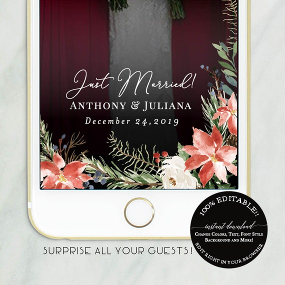 Wedding Snapchat Template Just Married Snapchat Geofilter Etsy