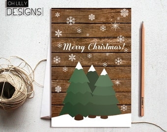Christmas Cards Printable, Rustic Holiday Card, Rustic Christmas Card, Printable Christmas Card, Instant Download, Christmas Cards