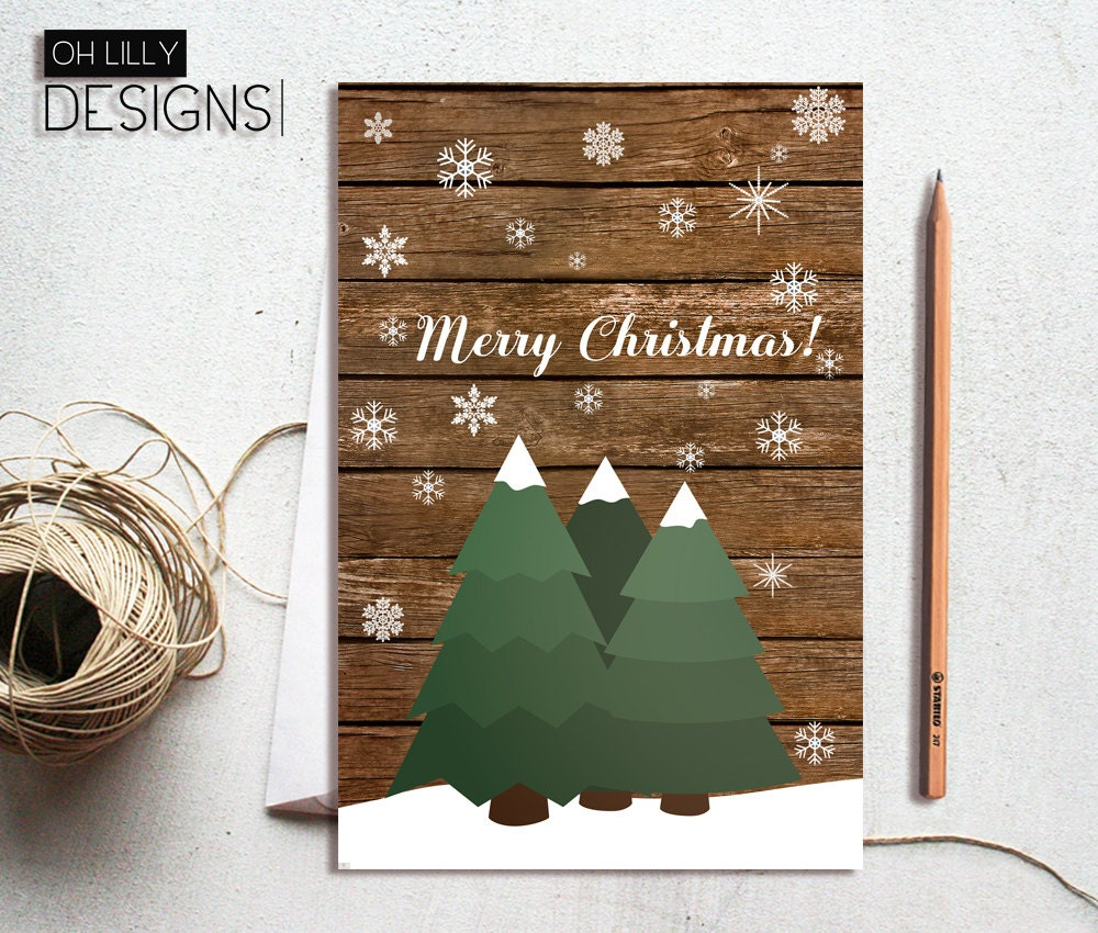 Christmas Cards Printable Rustic Holiday Card Rustic | Etsy