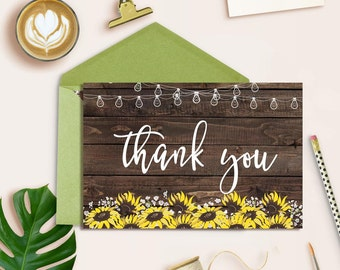 Sunflower Thank you card, Rustic Thank you card Printable, Floral Thank you card, Wedding Thank you card, Country Thank you card