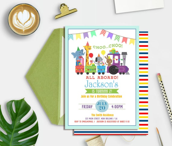 Train Birthday Invitation Boys