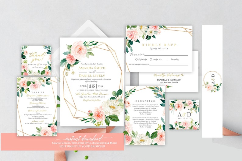 Self Editing Wedding Invitation Set Editable Template Etsy