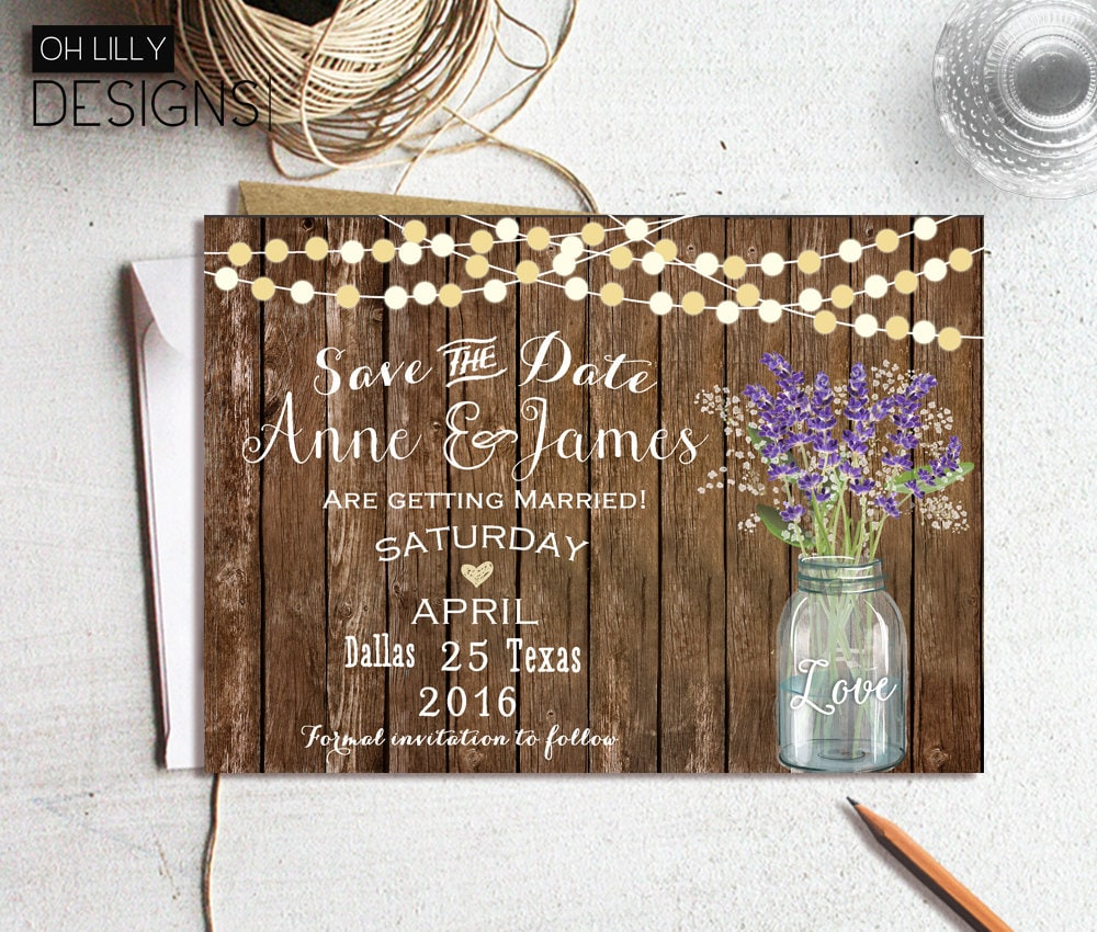 save the date rustic save the date printable mason jar