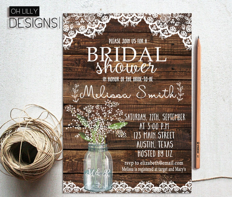 28b33ec5c9a Rustic Bridal Shower Invitation Printable Baby s Breath
