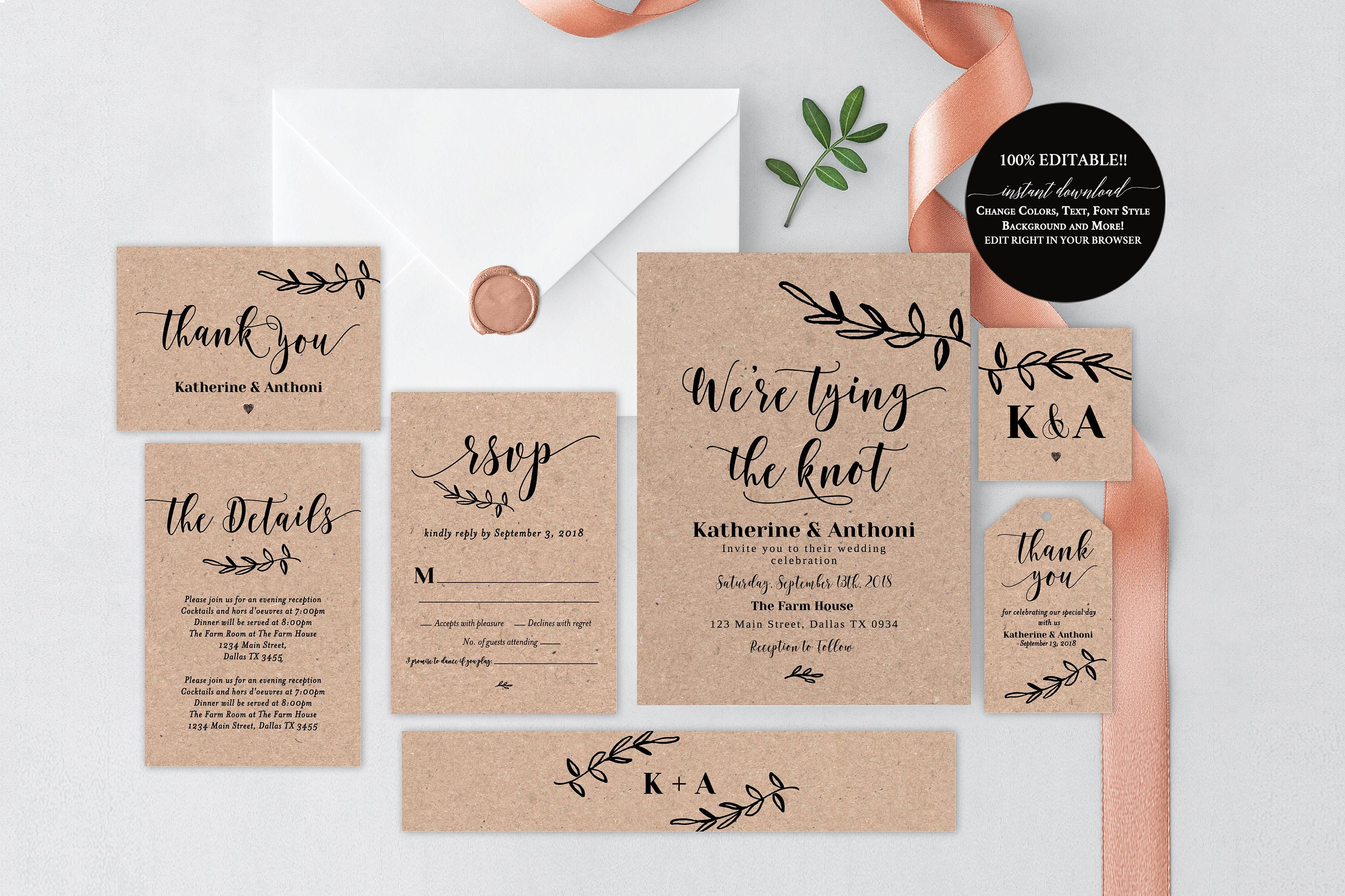 Wedding Invitation Template Download Rustic Kit Cards Suite Kraft