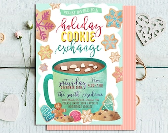 Cookie Exchange Invitation, Holiday Cookie Exchange, Cookie Swap Invite, Christmas Party Invitation,  Hot Cocoa Party Invitation, Xmas Party