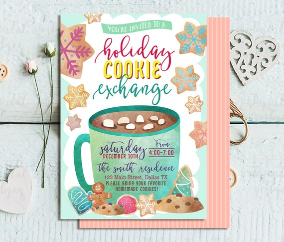 Cookie Exchange Invitation Holiday Cookie Exchange Cookie Etsy