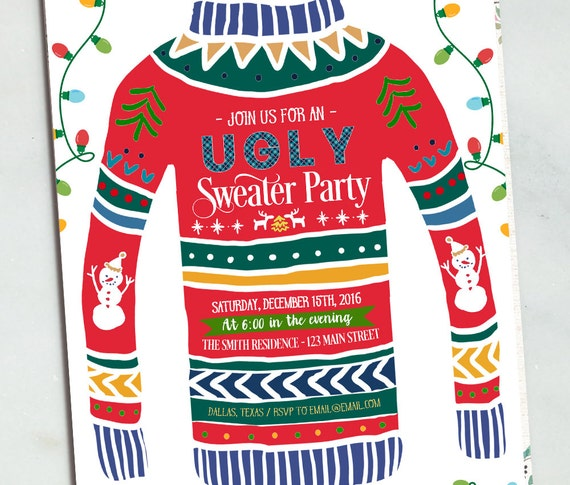 Ugly Sweater Invitation Ugly Sweater Party Invitation Etsy