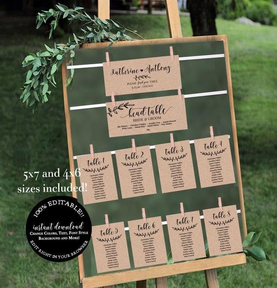 DIY Rustic Kraft Wedding Rustic Wedding Seating Chart Template Set Printable Table Seating Plan Editable PDF Templates Instant Download