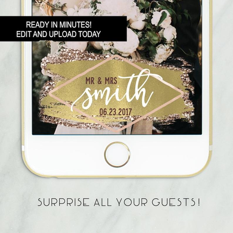 Gold Wedding Snapchat Filter Snapchat Geofilter Wedding | Etsy