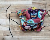 Colorful Sugar Skulls Print Handmade Mask Two Layer 100 Cotton Fabric Washable Adjustable Get One, Give One Basic Mask
