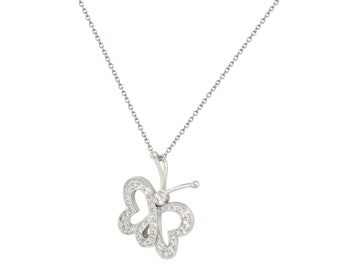 White Diamond Butterfly Enchant Necklace