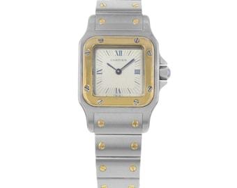 Cartier Santos 23mm Grey Sticks & Roman Numerals Dial Quartz Ladies Watch