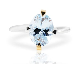 Comete Light Blue Aquamarine 18k Two Tone Gold Ring