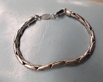 Vintage Liz Claiborne silver tone link bracelet Signed LC