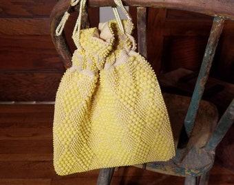 1960s 1970s Yellow Vintage Handbag Purse Wristlet