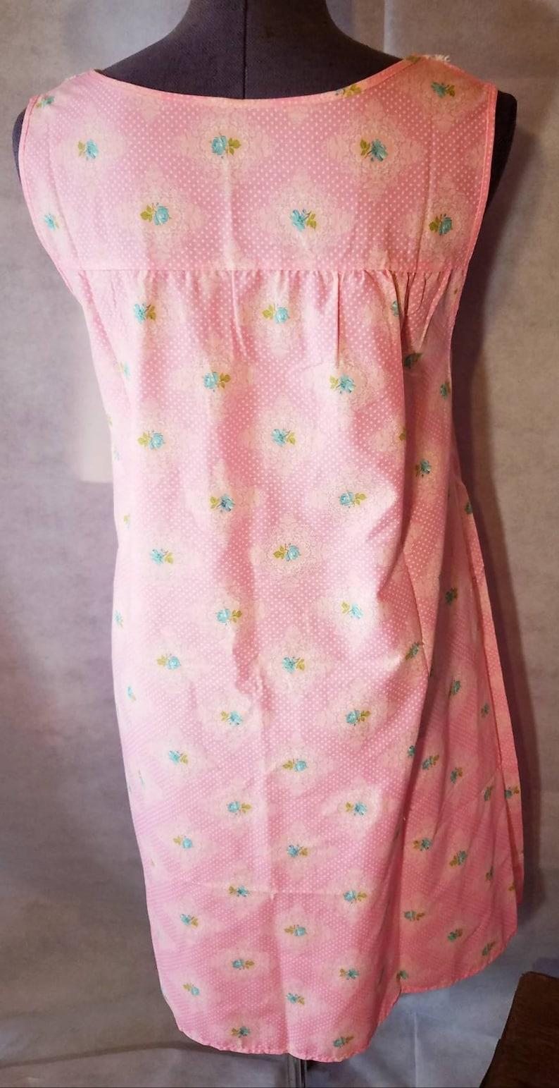 Vintage 1960s Pink Nightie  Night Gown Smocking