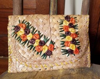 Vintage Straw Clutch / Raffia Embroidery / Yellow Orange Floral