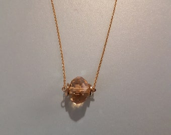 Vintage Victorian style raw brass with Paradise shine Glass Jewel gold plated chain