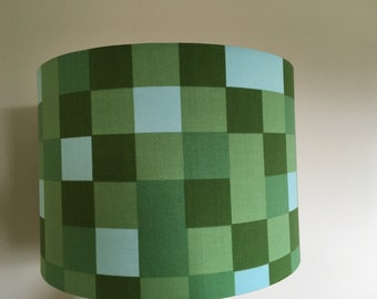 Childrens lampshades etsy minecraft inspired pixel handmade lampshade in various sizes and coloured linings aloadofball Gallery