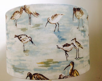 Handmade lampshade in 'sandpiper' watercolour sea birds fabric, various sizes and linings!