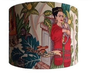 Frida lampshade, Mexican artist design handmade in 'Fridas Garden' tea fabric, various sizes and coloured inners!