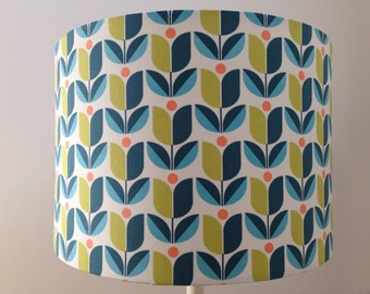 Scandi retro tulip teal & green, handmade lampshade in various sizes and linings