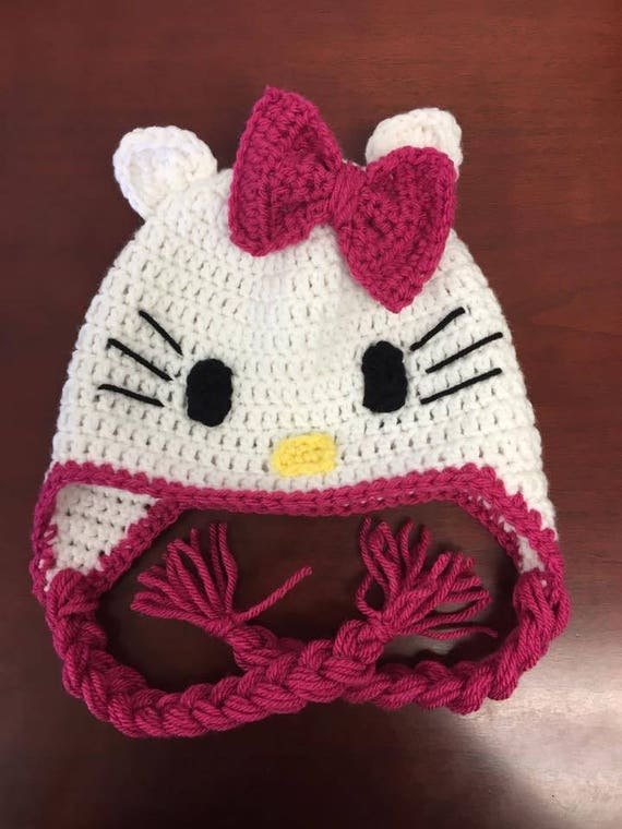Hello Kitty Hat Crochet Girls Hat Crochet Hat Hello Kitty Etsy