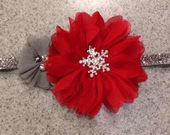 Red snowflake headband ships same day, red baby headband, snowflake newborn headband