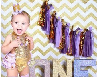 Lavender gold crown headband, purple and gold birthday headband, lavender gold crown headband, sophia the first birthday crown headband,