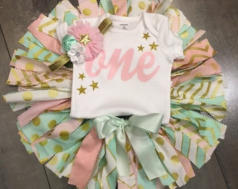 twinkle little star pink gold mint fabric tutu (3pc) first birthday photo outfit and pink and gold mint crown headband , quick shipping