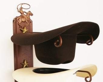 013fc40926e American Made Cowboy Hat Holder with Cowboy Roper Rust