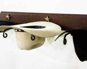 f522a4d0bb5 American Made Cowboy Hat Rack Rust with Gold Stars 893 Rust