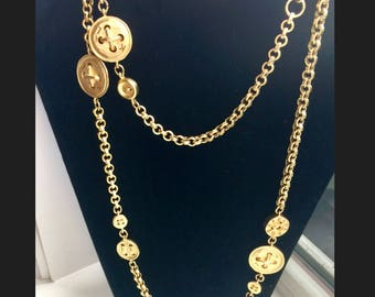 Vintage Karl Lagerfeld Sautior Gold Necklace FREE SHIP