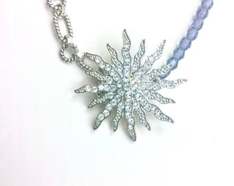 SALE Unique Vintage Starburst Pendant and  Chain and Bead Necklace