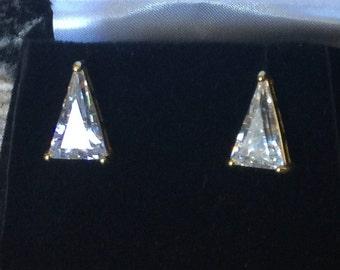 Vintage Triangle CZ Diamond Pierced Earring